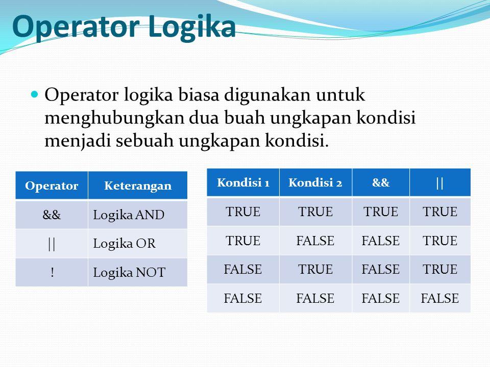 Operator Logika Operator logika biasa digunakan untuk menghubungkan dua buah ungkapan kondisi menjadi sebuah ungkapan kondisi. OperatorKeterangan &&Lo