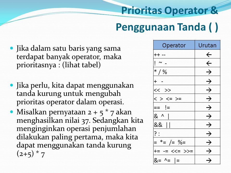 Prioritas Operator & Penggunaan Tanda ( ) Jika dalam satu baris yang sama terdapat banyak operator, maka prioritasnya : (lihat tabel) Jika perlu, kita