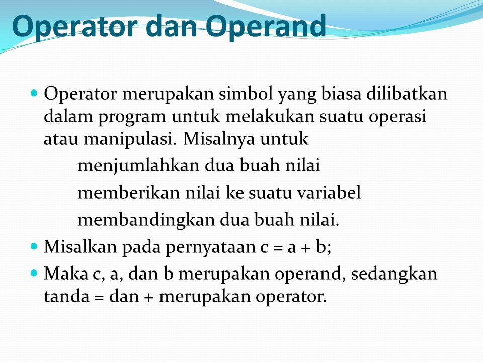 Operator dan Operand Operator merupakan simbol yang biasa dilibatkan dalam program untuk melakukan suatu operasi atau manipulasi. Misalnya untuk menju