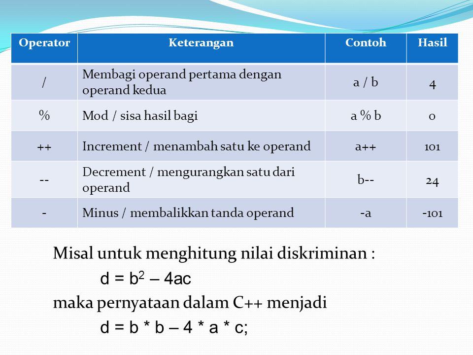 OperatorKeteranganContohHasil / Membagi operand pertama dengan operand kedua a / b4 %Mod / sisa hasil bagia % b0 ++Increment / menambah satu ke operan
