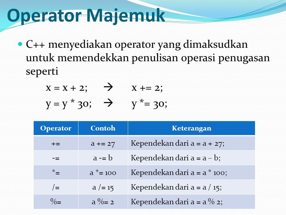 Operator Majemuk C++ menyediakan operator yang dimaksudkan untuk memendekkan penulisan operasi penugasan seperti x = x + 2;  x += 2; y = y * 30;  y