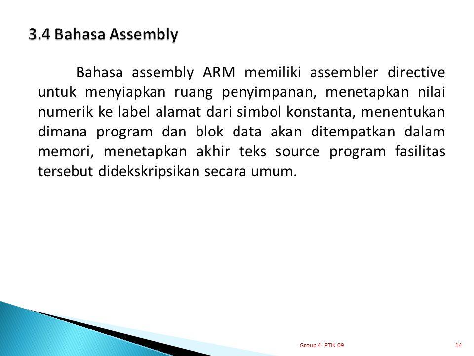 Bahasa assembly ARM memiliki assembler directive untuk menyiapkan ruang penyimpanan, menetapkan nilai numerik ke label alamat dari simbol konstanta, m
