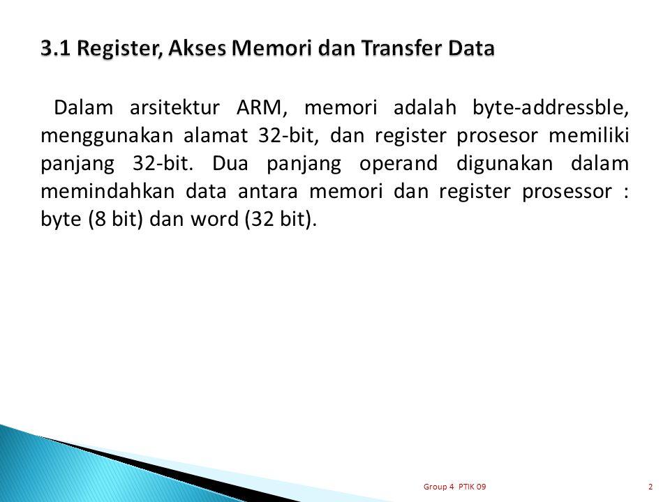 Dalam arsitektur ARM, memori adalah byte-addressble, menggunakan alamat 32-bit, dan register prosesor memiliki panjang 32-bit. Dua panjang operand dig