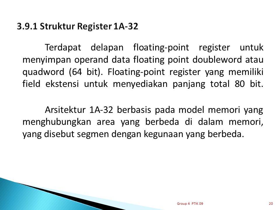 Terdapat delapan floating-point register untuk menyimpan operand data floating point doubleword atau quadword (64 bit). Floating-point register yang m