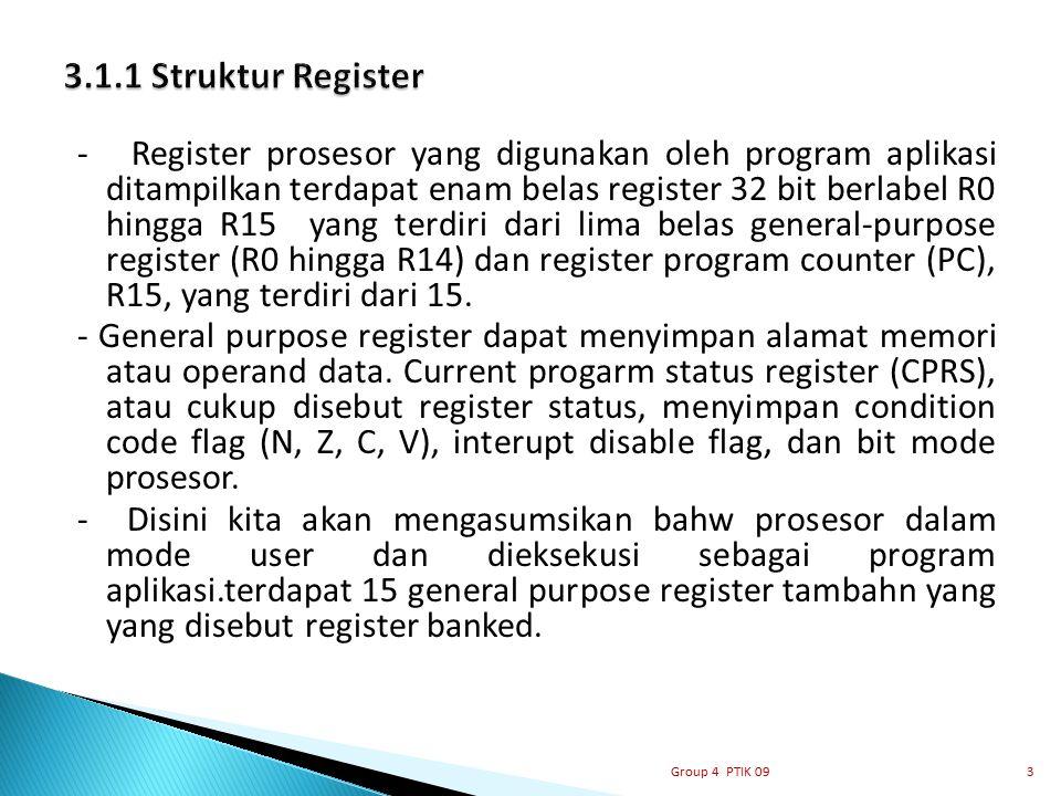 - Register prosesor yang digunakan oleh program aplikasi ditampilkan terdapat enam belas register 32 bit berlabel R0 hingga R15 yang terdiri dari lima