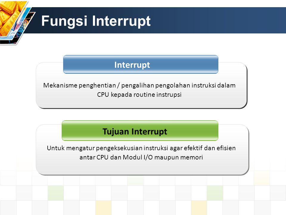 Fungsi Interrupt Interrupt Tujuan Interrupt Untuk mengatur pengeksekusian instruksi agar efektif dan efisien antar CPU dan Modul I/O maupun memori Mek