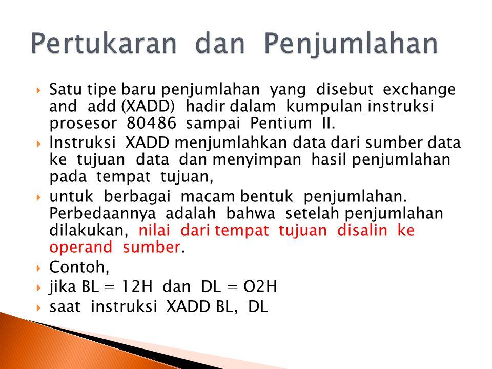  Satu tipe baru penjumlahan yang disebut exchange and add (XADD) hadir dalam kumpulan instruksi prosesor 80486 sampai Pentium II.