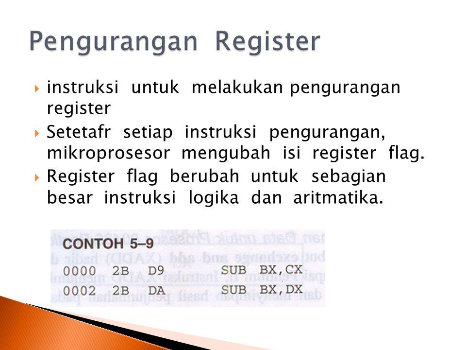  instruksi untuk melakukan pengurangan register  Setetafr setiap instruksi pengurangan, mikroprosesor mengubah isi register flag.