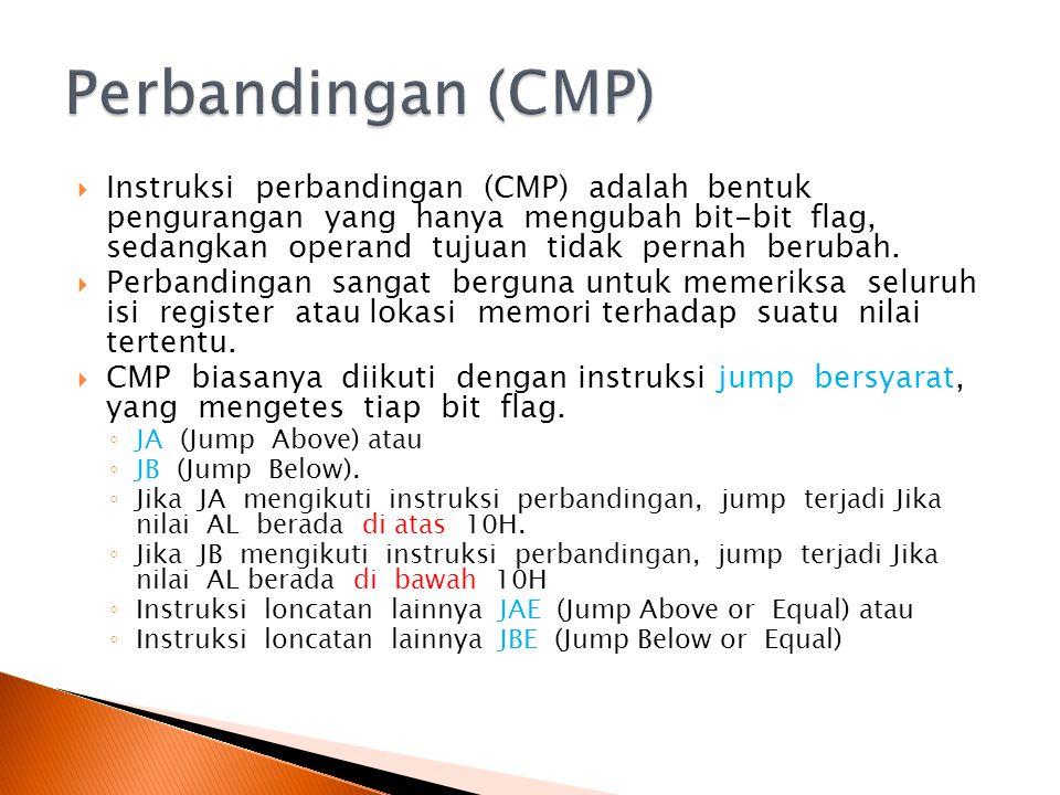  Instruksi perbandingan (CMP) adalah bentuk pengurangan yang hanya mengubah bit-bit flag, sedangkan operand tujuan tidak pernah berubah.