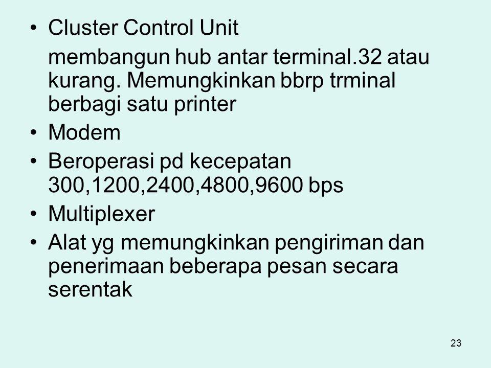23 Cluster Control Unit membangun hub antar terminal.32 atau kurang. Memungkinkan bbrp trminal berbagi satu printer Modem Beroperasi pd kecepatan 300,