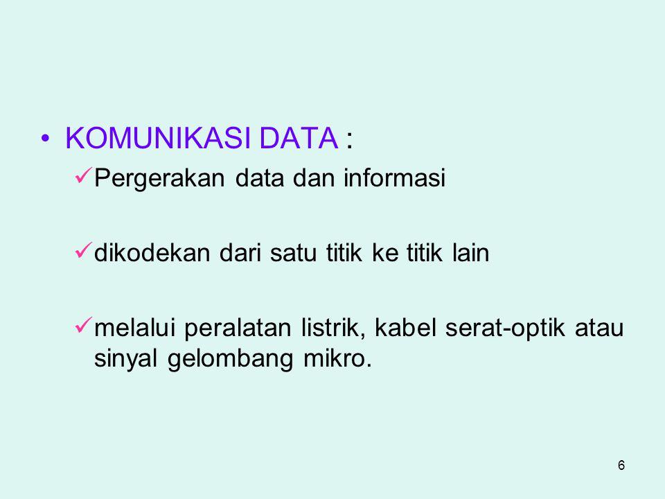6 KOMUNIKASI DATA : Pergerakan data dan informasi dikodekan dari satu titik ke titik lain melalui peralatan listrik, kabel serat-optik atau sinyal gel