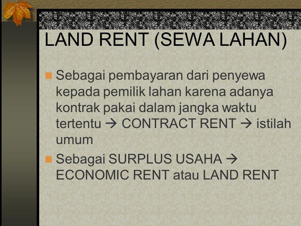 LAND RENT (SEWA LAHAN) Sebagai pembayaran dari penyewa kepada pemilik lahan karena adanya kontrak pakai dalam jangka waktu tertentu  CONTRACT RENT  istilah umum Sebagai SURPLUS USAHA  ECONOMIC RENT atau LAND RENT
