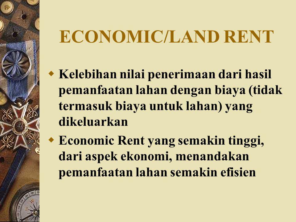 ECONOMIC/LAND RENT  Kelebihan nilai penerimaan dari hasil pemanfaatan lahan dengan biaya (tidak termasuk biaya untuk lahan) yang dikeluarkan  Economic Rent yang semakin tinggi, dari aspek ekonomi, menandakan pemanfaatan lahan semakin efisien