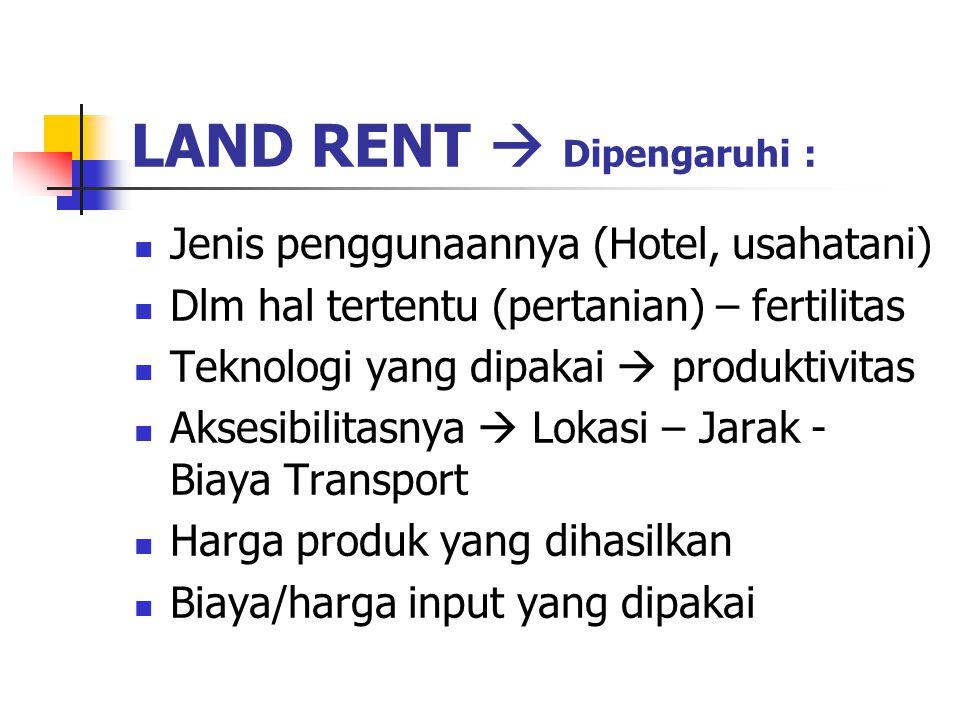 LAND RENT  Dipengaruhi : Jenis penggunaannya (Hotel, usahatani) Dlm hal tertentu (pertanian) – fertilitas Teknologi yang dipakai  produktivitas Aksesibilitasnya  Lokasi – Jarak - Biaya Transport Harga produk yang dihasilkan Biaya/harga input yang dipakai