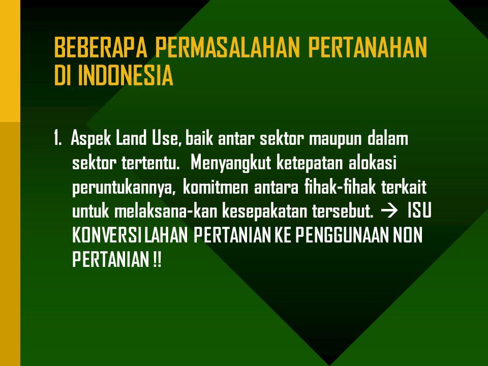 BEBERAPA PERMASALAHAN PERTANAHAN DI INDONESIA 1.