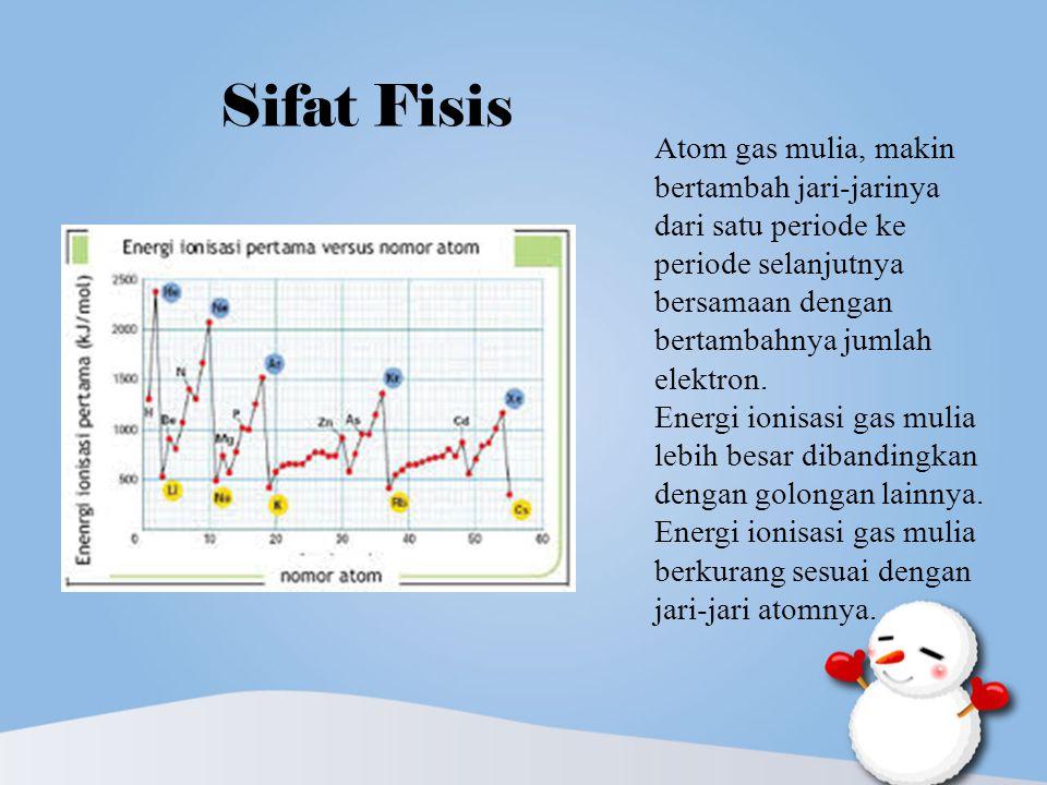 Sifat Fisis Atom gas mulia, makin bertambah jari-jarinya dari satu periode ke periode selanjutnya bersamaan dengan bertambahnya jumlah elektron. Energ