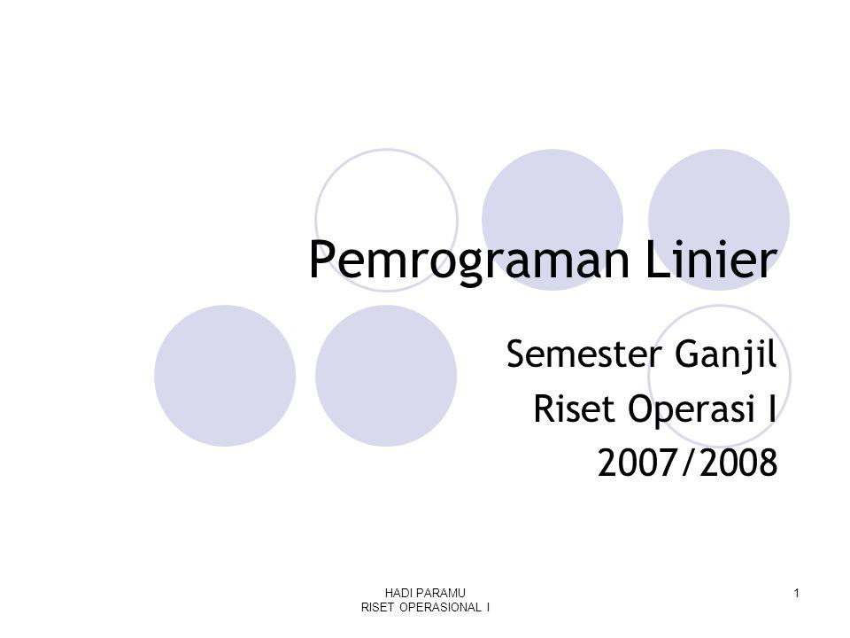 HADI PARAMU RISET OPERASIONAL I 1 Pemrograman Linier Semester Ganjil Riset Operasi I 2007/2008