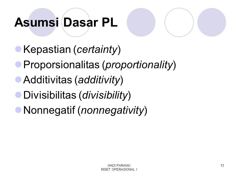 HADI PARAMU RISET OPERASIONAL I 13 Asumsi Dasar PL Kepastian (certainty) Proporsionalitas (proportionality) Additivitas (additivity) Divisibilitas (divisibility) Nonnegatif (nonnegativity)