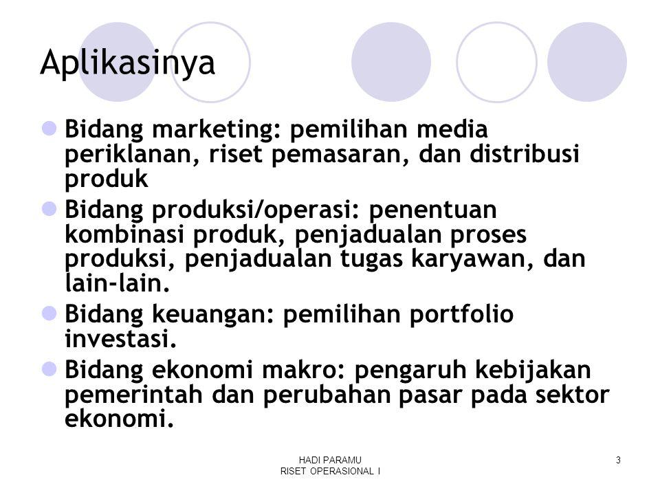 HADI PARAMU RISET OPERASIONAL I 3 Aplikasinya Bidang marketing: pemilihan media periklanan, riset pemasaran, dan distribusi produk Bidang produksi/operasi: penentuan kombinasi produk, penjadualan proses produksi, penjadualan tugas karyawan, dan lain-lain.