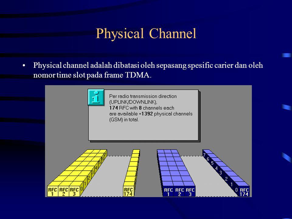 Physical channel adalah dibatasi oleh sepasang specific carrier dan oleh nomor time slot pada frame TDMA.