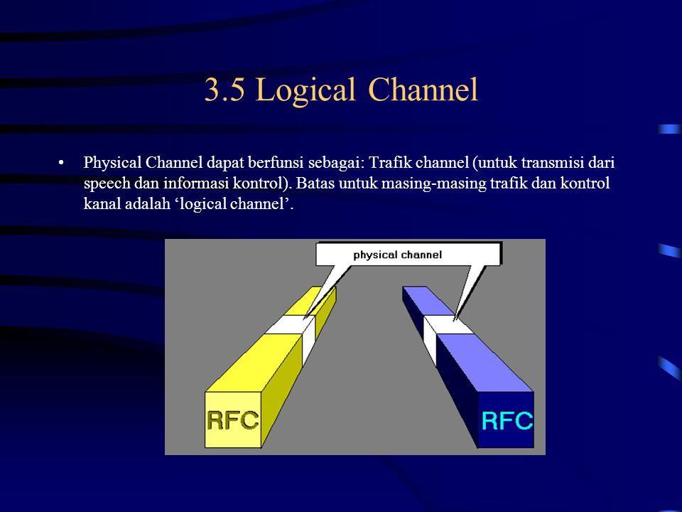 Physical Channel Physical channel adalah dibatasi oleh sepasang spesific carier dan oleh nomor time slot pada frame TDMA.