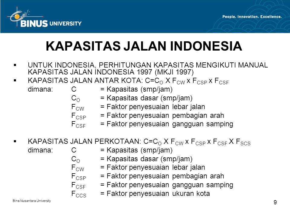Bina Nusantara University 9 KAPASITAS JALAN INDONESIA  UNTUK INDONESIA, PERHITUNGAN KAPASITAS MENGIKUTI MANUAL KAPASITAS JALAN INDONESIA 1997 (MKJI 1