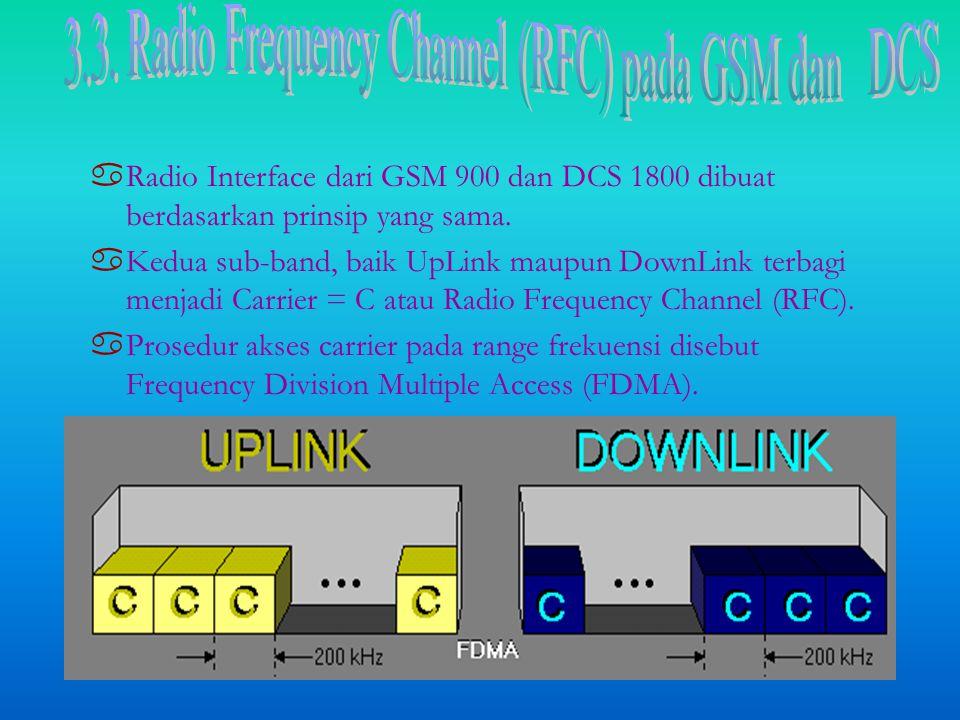 aRaRadio Interface dari GSM 900 dan DCS 1800 dibuat berdasarkan prinsip yang sama.