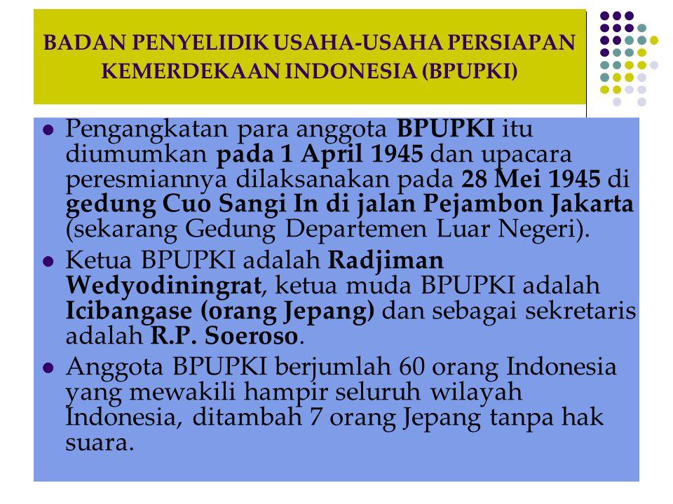 PENYUSUNAN DASAR NEGARA DAN KONSTITUSI NEGARA OLEH BPUPKI Sidang Pertama BPUPKI dimulai tanggal 29 Mei-1 Juni 1945.