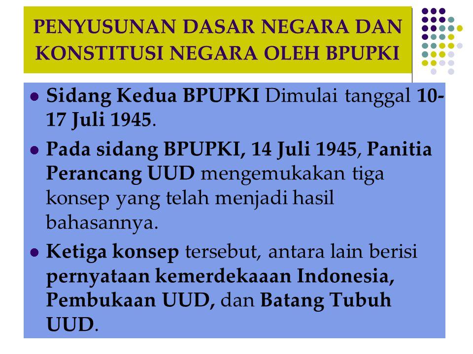 PENYUSUNAN DASAR NEGARA DAN KONSTITUSI NEGARA OLEH BPUPKI Sidang Kedua BPUPKI Dimulai tanggal 10- 17 Juli 1945.