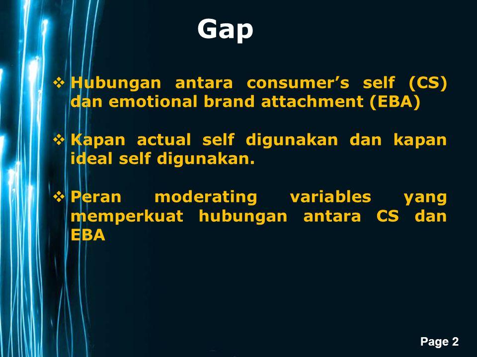 Page 3 Objectives 1.Memahami implikasi dan pengaruh relatif consumer's actual self-congruence (CAS) dan consumer's ideal self-congruence (CIS) terhadap EBA 2.Untuk mendapatkan pemahaman mengapa efek CAS dan CIS terhadap EBA berbeda pada konteks dan consumers yang berbeda.