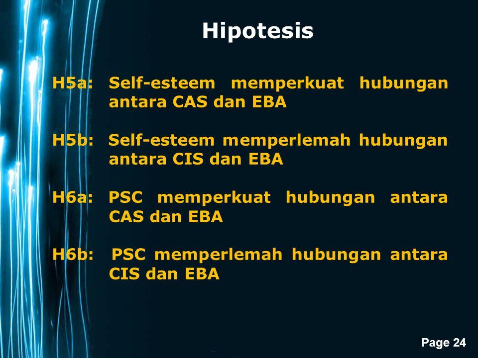 Page 24 Hipotesis H5a: Self-esteem memperkuat hubungan antara CAS dan EBA H5b: Self-esteem memperlemah hubungan antara CIS dan EBA H6a: PSC memperkuat