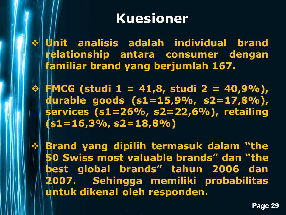 Page 29 Kuesioner  Unit analisis adalah individual brand relationship antara consumer dengan familiar brand yang berjumlah 167.  FMCG (studi 1 = 41,