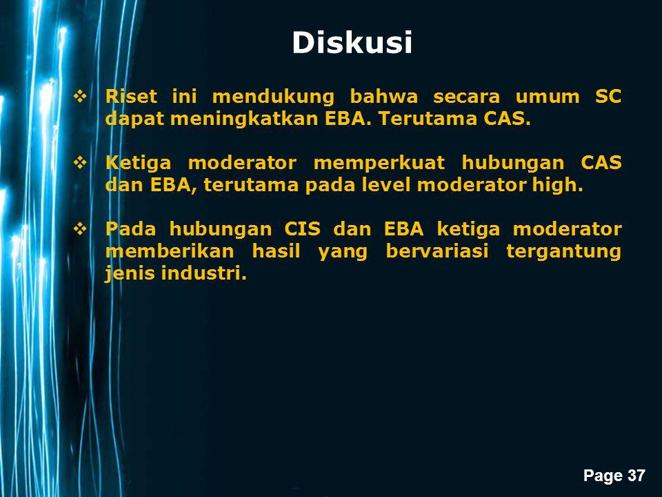 Page 37 Diskusi  Riset ini mendukung bahwa secara umum SC dapat meningkatkan EBA. Terutama CAS.  Ketiga moderator memperkuat hubungan CAS dan EBA, t