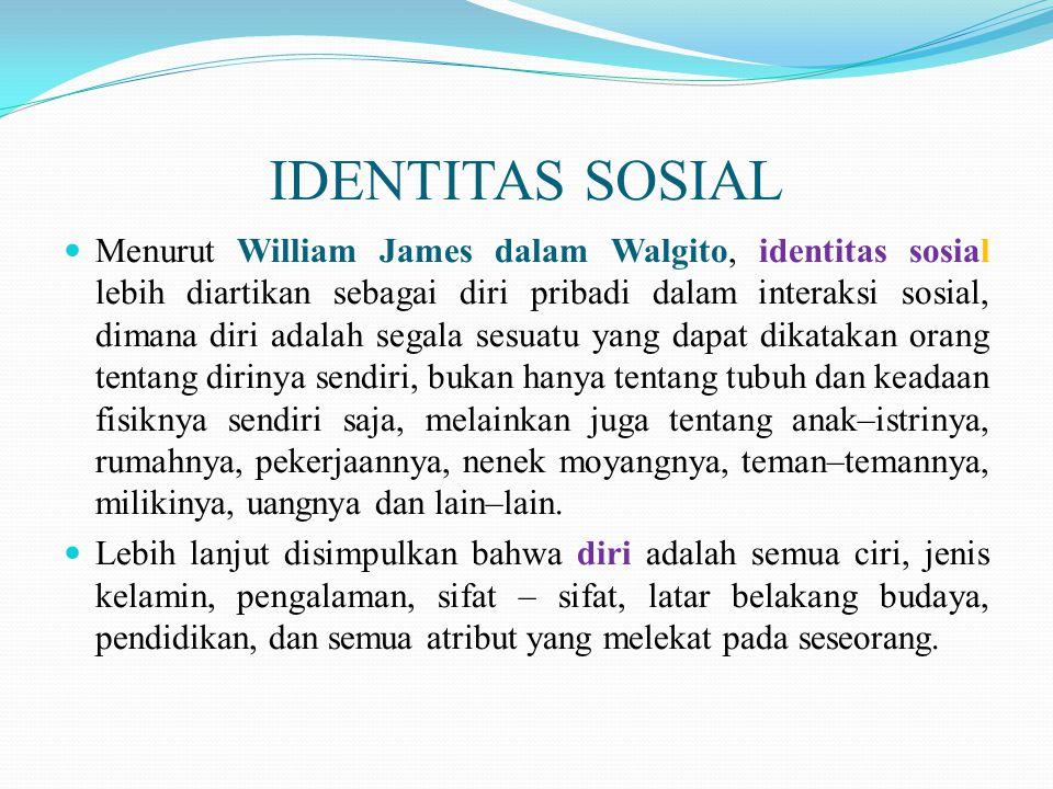 IDENTITAS SOSIAL Menurut William James dalam Walgito, identitas sosial lebih diartikan sebagai diri pribadi dalam interaksi sosial, dimana diri adalah