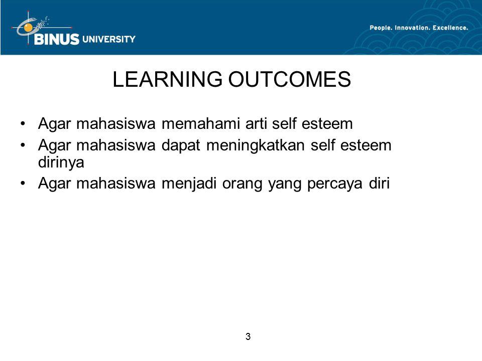 3 LEARNING OUTCOMES Agar mahasiswa memahami arti self esteem Agar mahasiswa dapat meningkatkan self esteem dirinya Agar mahasiswa menjadi orang yang percaya diri