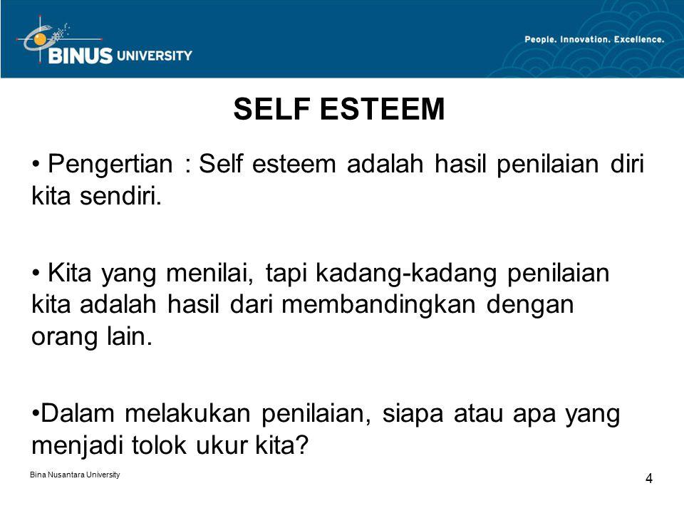 Bina Nusantara University 4 SELF ESTEEM Pengertian : Self esteem adalah hasil penilaian diri kita sendiri.