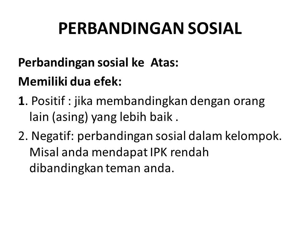 PERBANDINGAN SOSIAL Perbandingan sosial ke Atas: Memiliki dua efek: 1.
