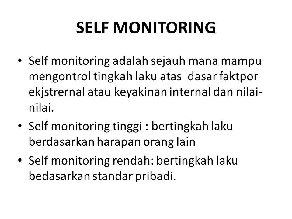 SELF MONITORING Self monitoring adalah sejauh mana mampu mengontrol tingkah laku atas dasar faktpor ekjstrernal atau keyakinan internal dan nilai- nilai.