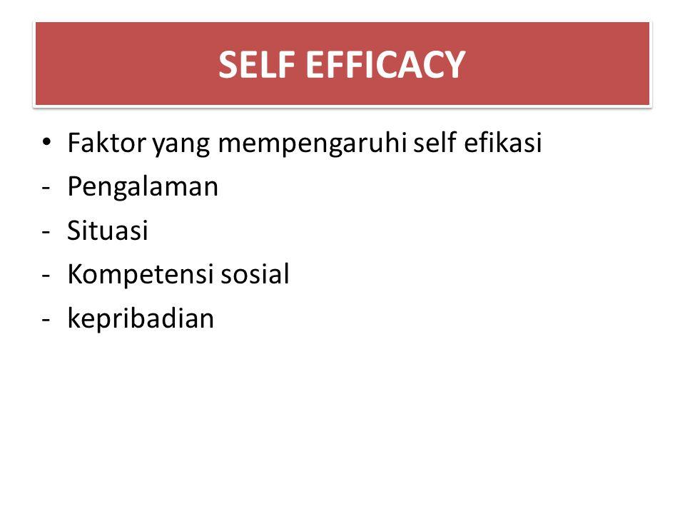 Faktor yang mempengaruhi self efikasi -Pengalaman -Situasi -Kompetensi sosial -kepribadian SELF EFFICACY