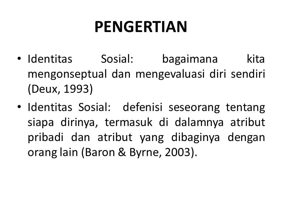 PENGERTIAN Identitas Sosial: bagaimana kita mengonseptual dan mengevaluasi diri sendiri (Deux, 1993) Identitas Sosial: defenisi seseorang tentang siapa dirinya, termasuk di dalamnya atribut pribadi dan atribut yang dibaginya dengan orang lain (Baron & Byrne, 2003).