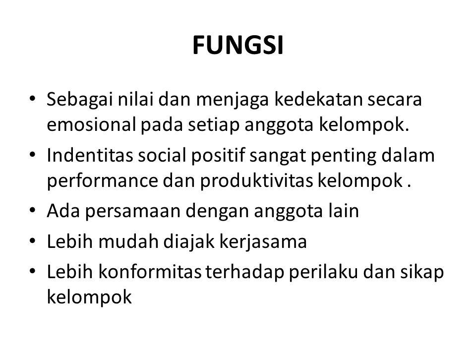 FUNGSI Sebagai nilai dan menjaga kedekatan secara emosional pada setiap anggota kelompok.