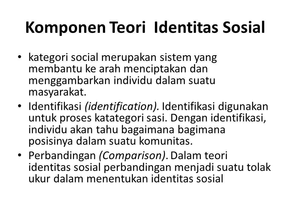 Komponen Teori Identitas Sosial kategori social merupakan sistem yang membantu ke arah menciptakan dan menggambarkan individu dalam suatu masyarakat.