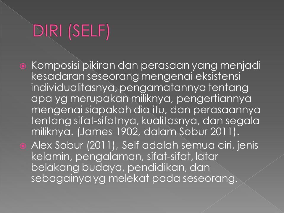  Diri (self) meliputi juga tentang kesadaran diri dan pengungkapan diri.
