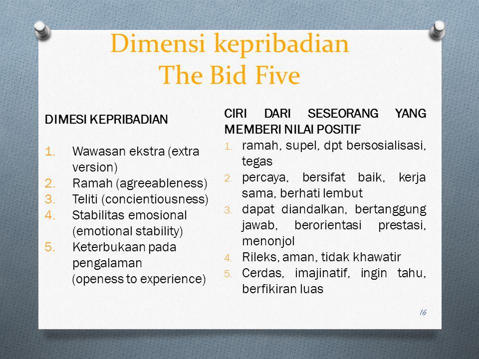Dimensi kepribadian The Bid Five 16 DIMESI KEPRIBADIAN 1.Wawasan ekstra (extra version) 2.Ramah (agreeableness) 3.Teliti (concientiousness) 4.Stabilit