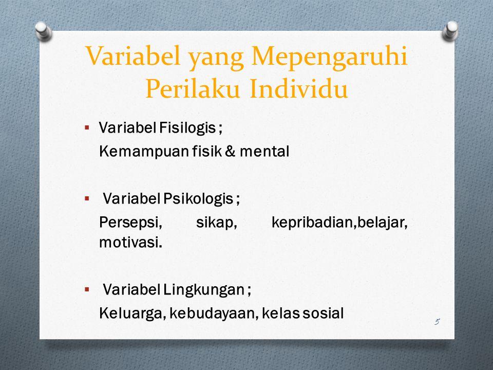 Variabel yang Mepengaruhi Perilaku Individu  Variabel Fisilogis ; Kemampuan fisik & mental  Variabel Psikologis ; Persepsi, sikap, kepribadian,belaj