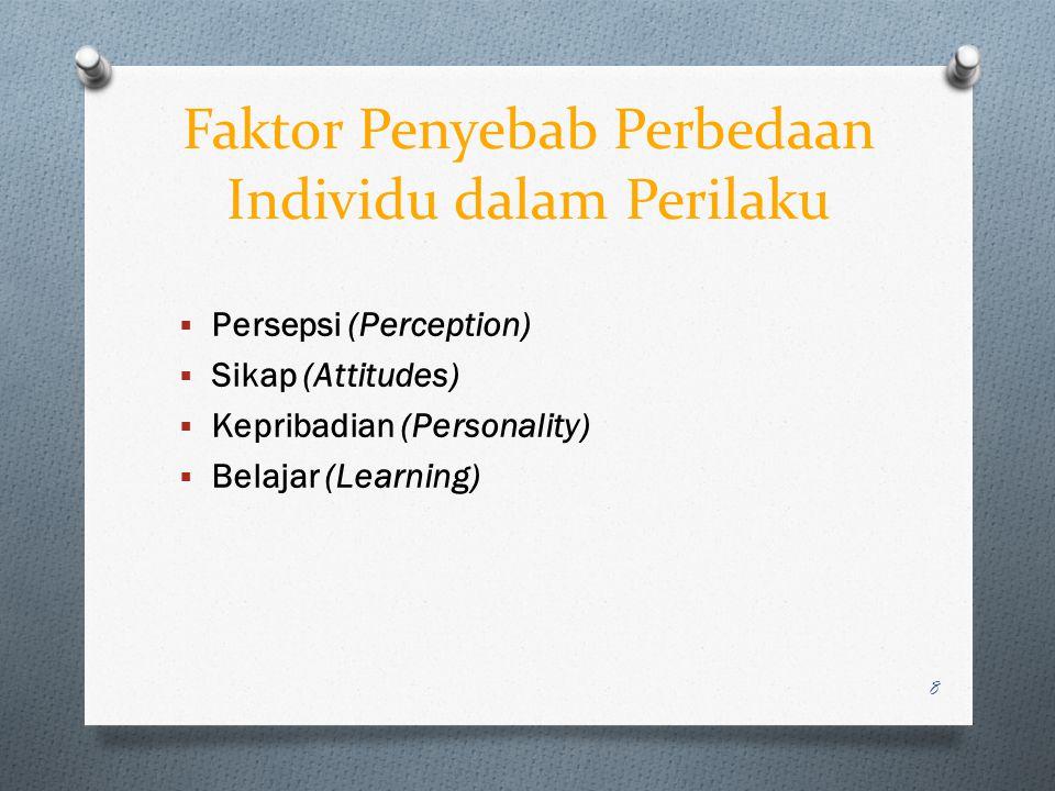 Faktor Penyebab Perbedaan Individu dalam Perilaku  Persepsi (Perception)  Sikap (Attitudes)  Kepribadian (Personality)  Belajar (Learning) 8