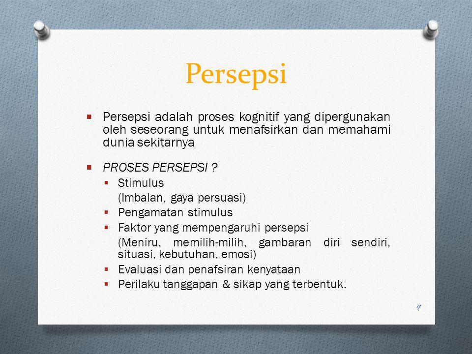 Persepsi  Persepsi adalah proses kognitif yang dipergunakan oleh seseorang untuk menafsirkan dan memahami dunia sekitarnya  PROSES PERSEPSI ?  Stim