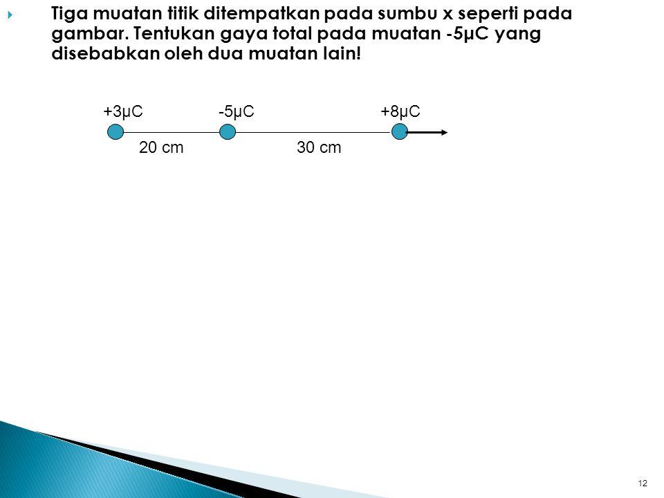  Tiga muatan titik ditempatkan pada sumbu x seperti pada gambar.