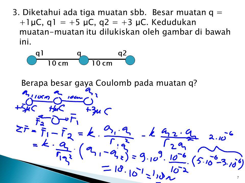 3.Diketahui ada tiga muatan sbb. Besar muatan q = +1μC, q1 = +5 μC, q2 = +3 μC.