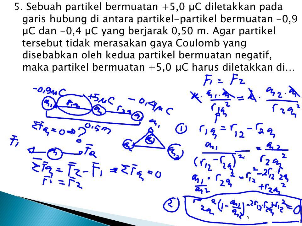 5. Sebuah partikel bermuatan +5,0 μC diletakkan pada garis hubung di antara partikel-partikel bermuatan -0,9 μC dan -0,4 μC yang berjarak 0,50 m. Agar